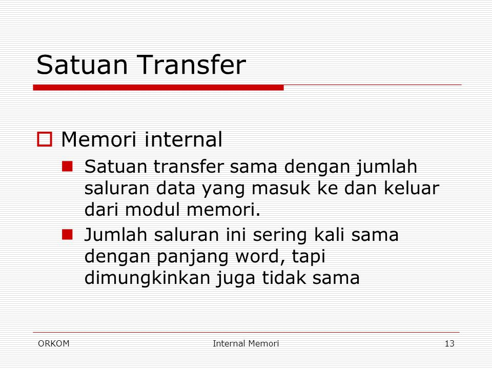 Satuan Transfer Memori internal