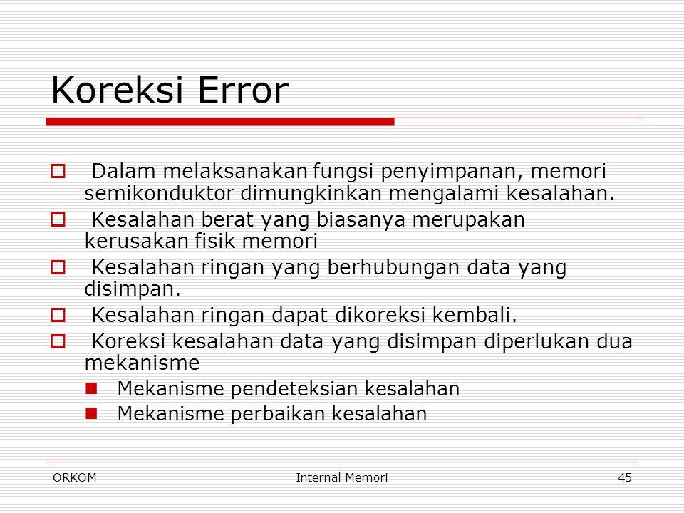 Koreksi Error Dalam melaksanakan fungsi penyimpanan, memori semikonduktor dimungkinkan mengalami kesalahan.
