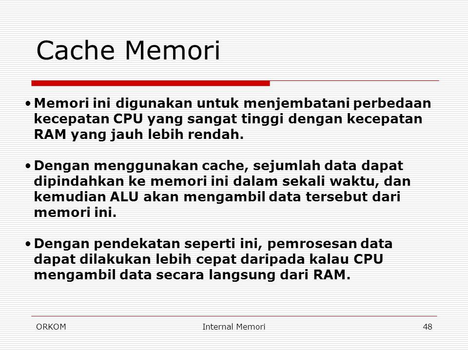 Cache Memori Memori ini digunakan untuk menjembatani perbedaan kecepatan CPU yang sangat tinggi dengan kecepatan RAM yang jauh lebih rendah.