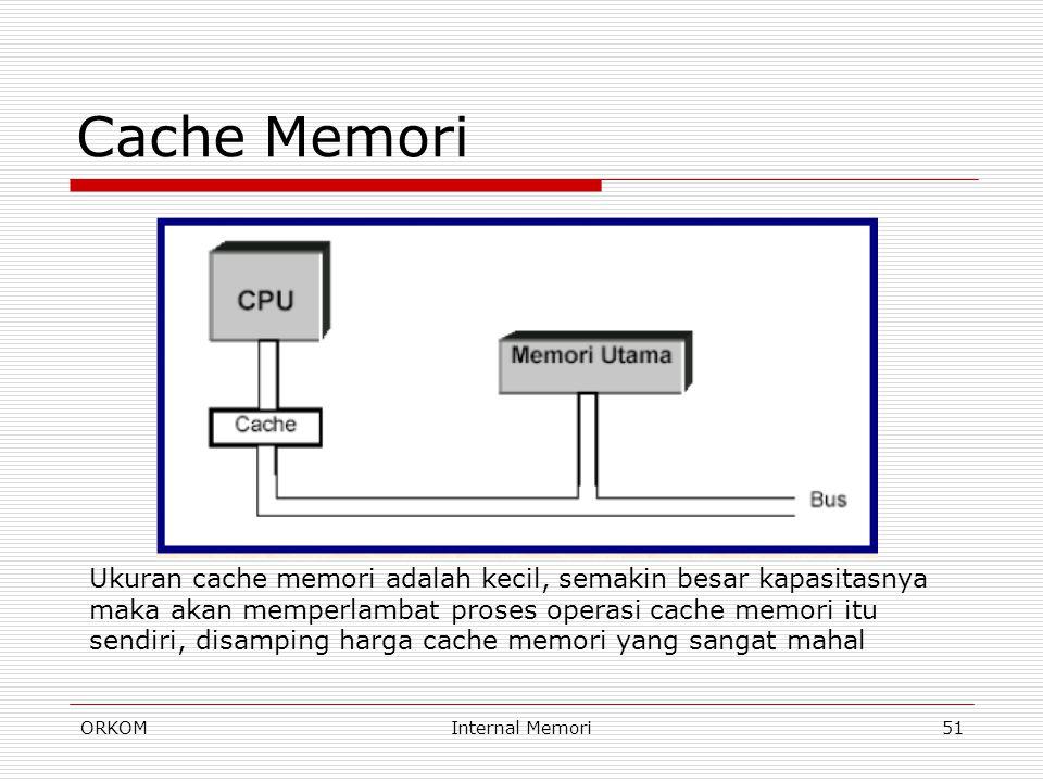 Cache Memori Ukuran cache memori adalah kecil, semakin besar kapasitasnya.