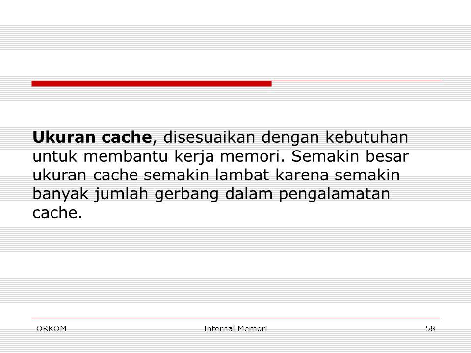 Ukuran cache, disesuaikan dengan kebutuhan untuk membantu kerja memori
