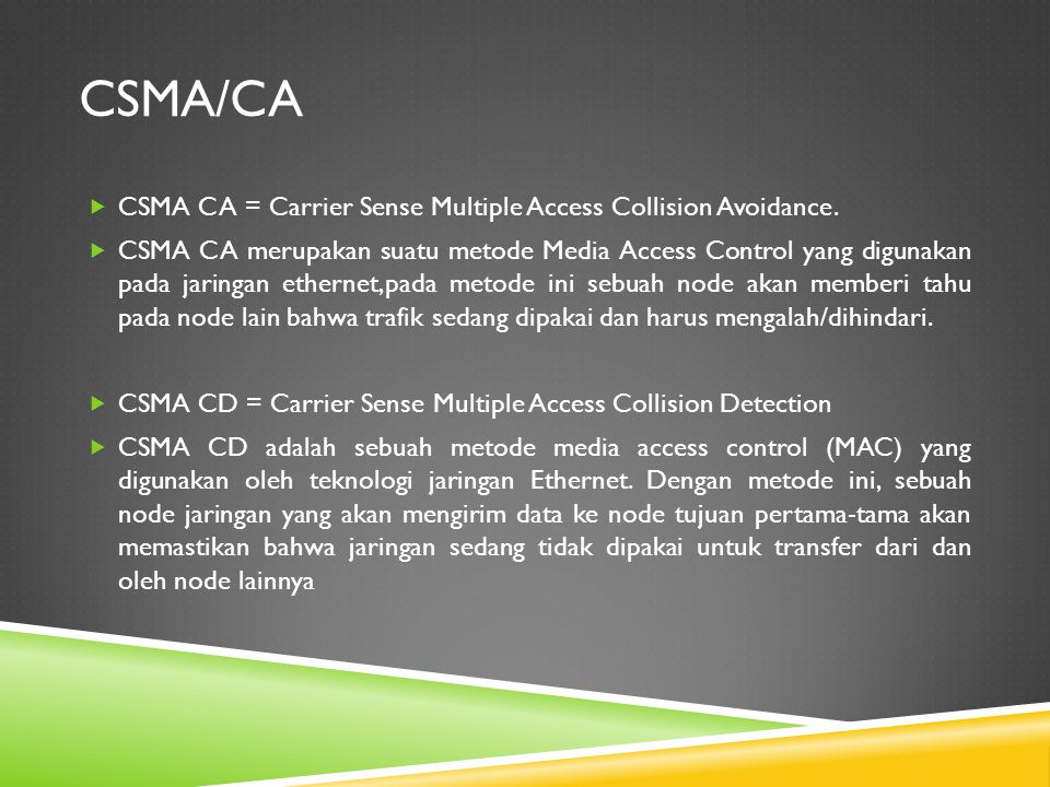 Csma/ca CSMA CA = Carrier Sense Multiple Access Collision Avoidance.