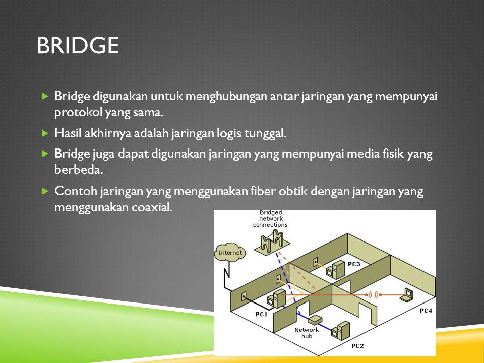 bridge Bridge digunakan untuk menghubungan antar jaringan yang mempunyai protokol yang sama. Hasil akhirnya adalah jaringan logis tunggal.
