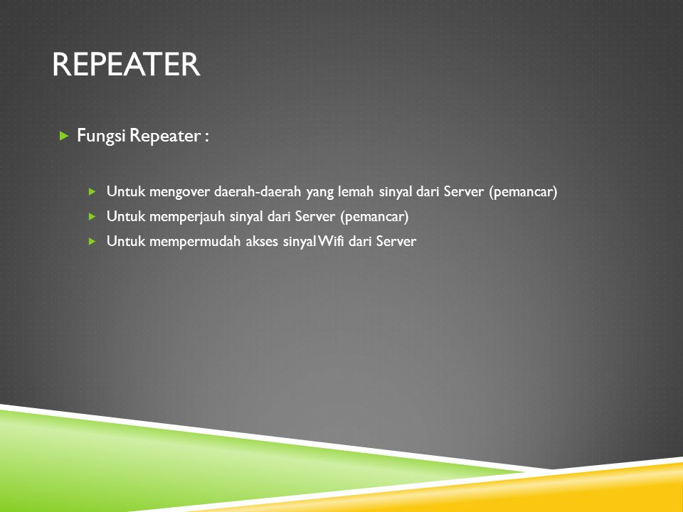 repeater Fungsi Repeater :