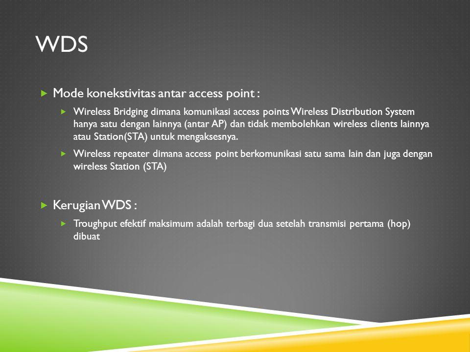 wds Mode konekstivitas antar access point : Kerugian WDS :