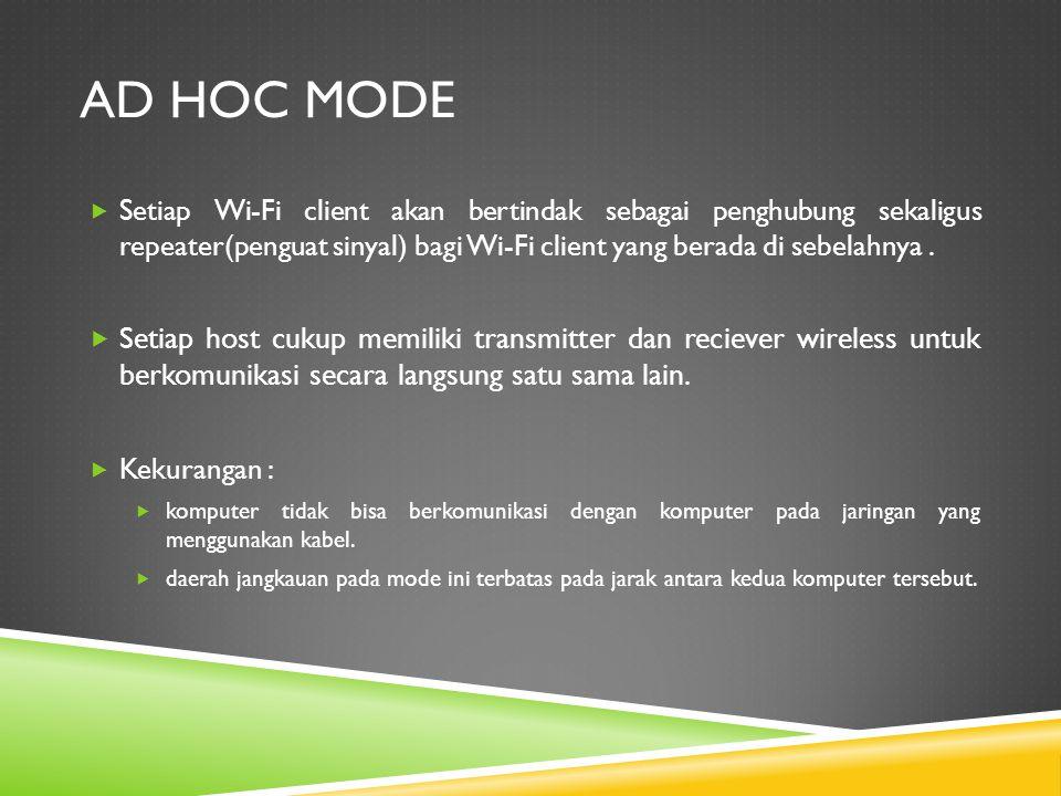 Ad hoc Mode Setiap Wi-Fi client akan bertindak sebagai penghubung sekaligus repeater(penguat sinyal) bagi Wi-Fi client yang berada di sebelahnya .