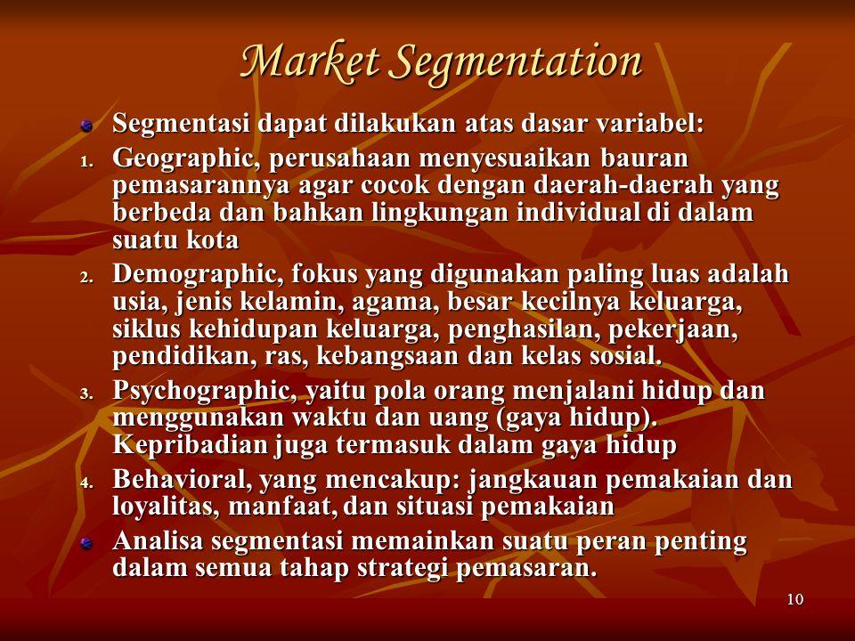 Market Segmentation Segmentasi dapat dilakukan atas dasar variabel:
