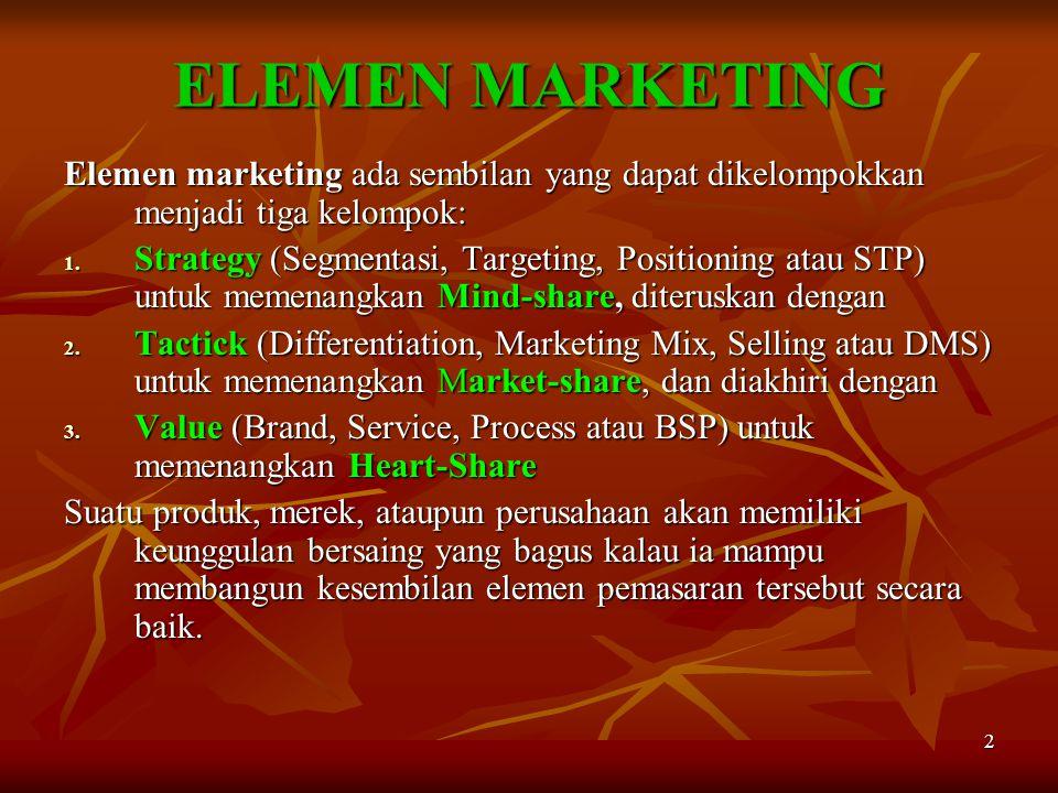 ELEMEN MARKETING Elemen marketing ada sembilan yang dapat dikelompokkan menjadi tiga kelompok: