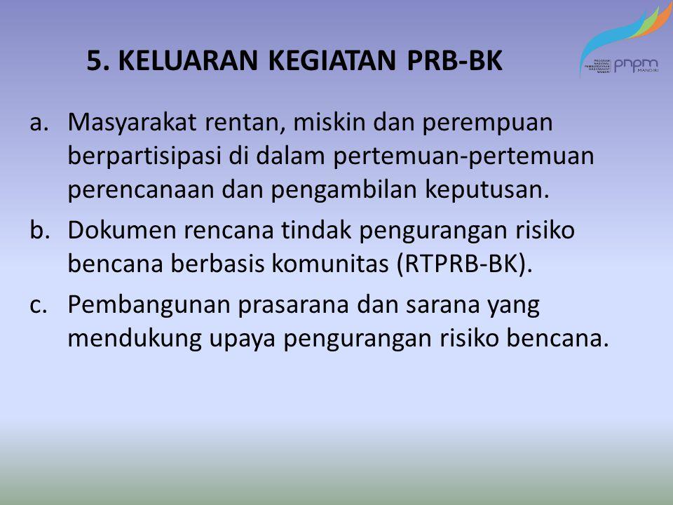 5. KELUARAN KEGIATAN PRB-BK