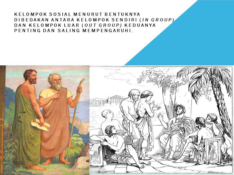 Kelompok sosial menurut bentuknya dibedakan antara kelompok sendiri (In Group) dan kelompok luar (Out Group) keduanya penting dan saling mempengaruhi.