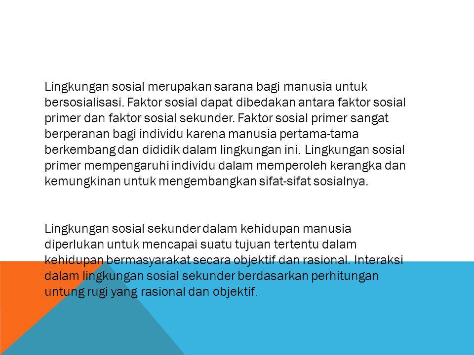 Lingkungan sosial merupakan sarana bagi manusia untuk bersosialisasi