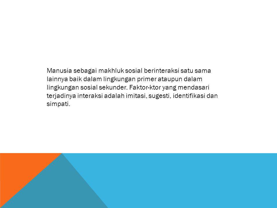 Manusia sebagai makhluk sosial berinteraksi satu sama lainnya baik dalam lingkungan primer ataupun dalam lingkungan sosial sekunder.