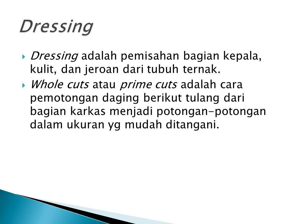 Dressing Dressing adalah pemisahan bagian kepala, kulit, dan jeroan dari tubuh ternak.