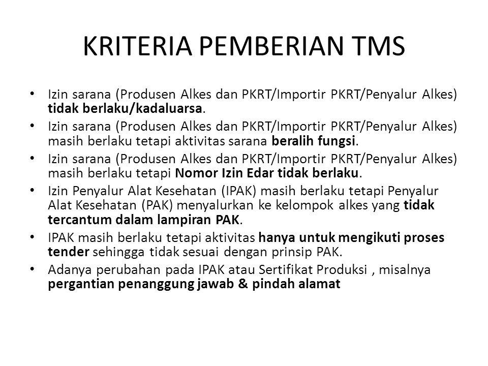 KRITERIA PEMBERIAN TMS