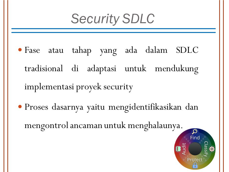Security SDLC Fase atau tahap yang ada dalam SDLC tradisional di adaptasi untuk mendukung implementasi proyek security.