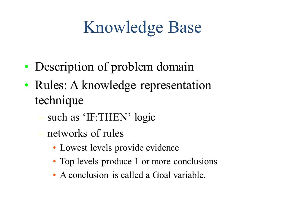 Knowledge Base Description of problem domain