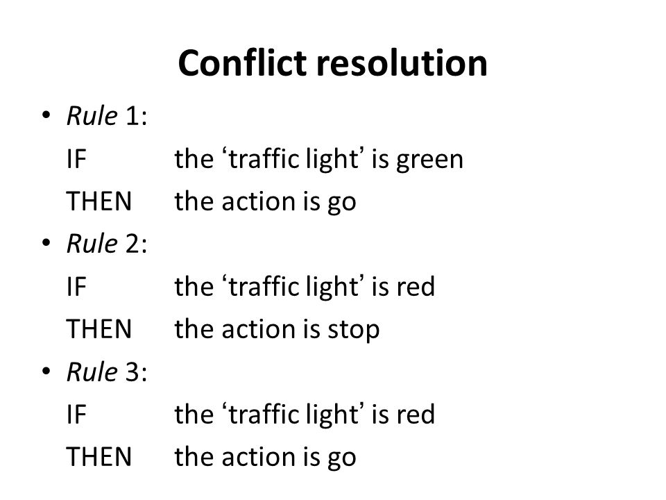 Conflict resolution Rule 1: IF the 'traffic light' is green