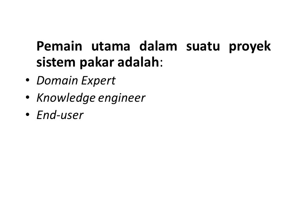Pemain utama dalam suatu proyek sistem pakar adalah: