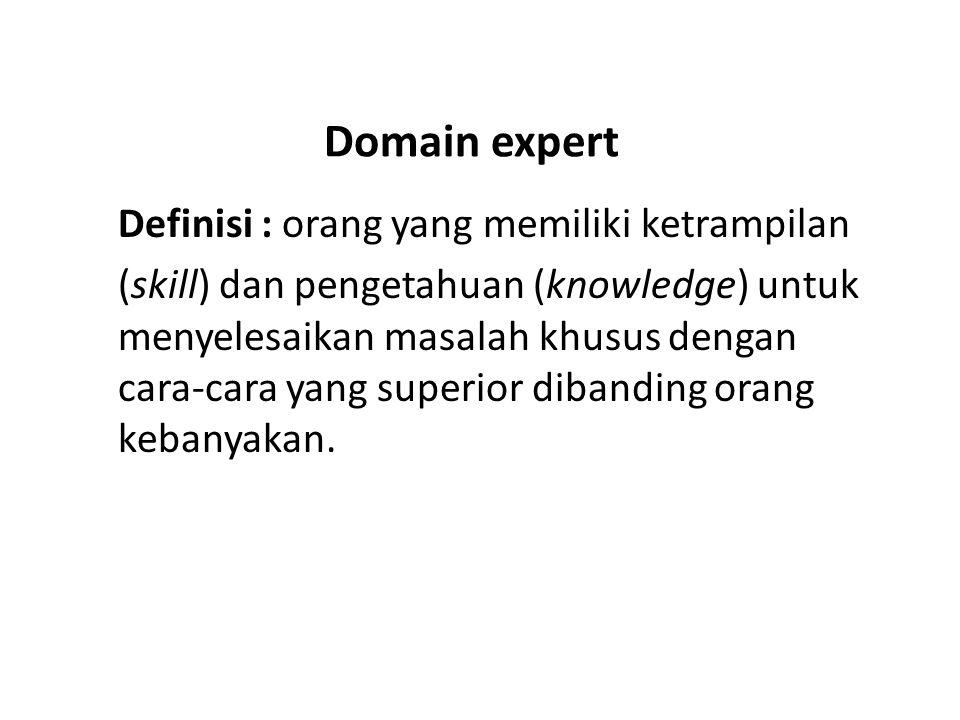 Domain expert Definisi : orang yang memiliki ketrampilan