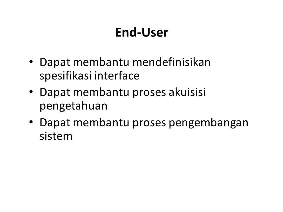 End-User Dapat membantu mendefinisikan spesifikasi interface