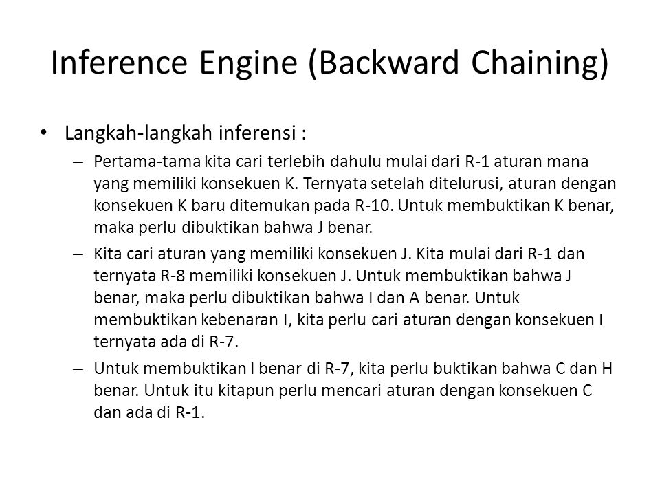 Inference Engine (Backward Chaining)