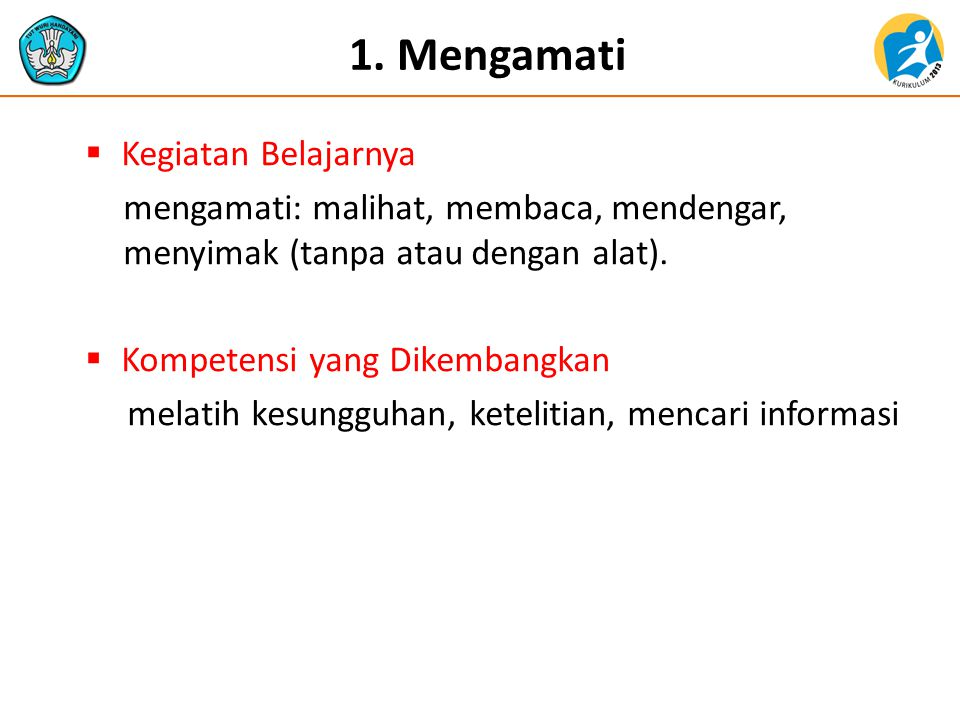 1. Mengamati Kegiatan Belajarnya