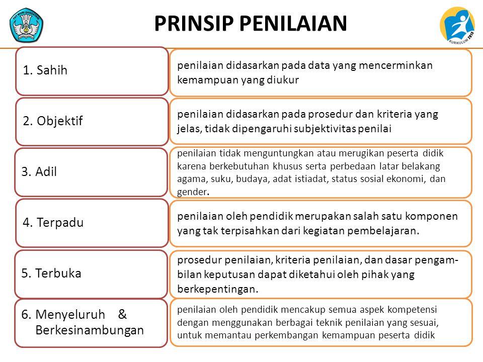 PRINSIP PENILAIAN 1. Sahih. 2. Objektif. 3. Adil. 4. Terpadu. 5. Terbuka. 6. Menyeluruh & Berkesinambungan.