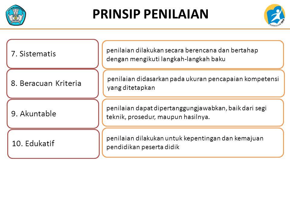 PRINSIP PENILAIAN 7. Sistematis 8. Beracuan Kriteria 9. Akuntable