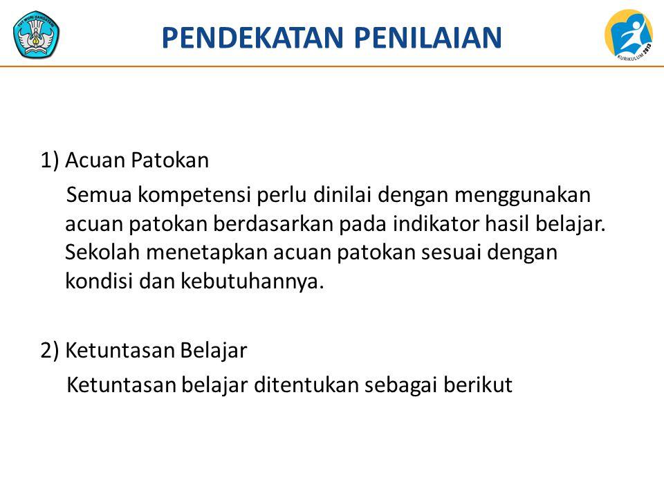 PENDEKATAN PENILAIAN 1) Acuan Patokan