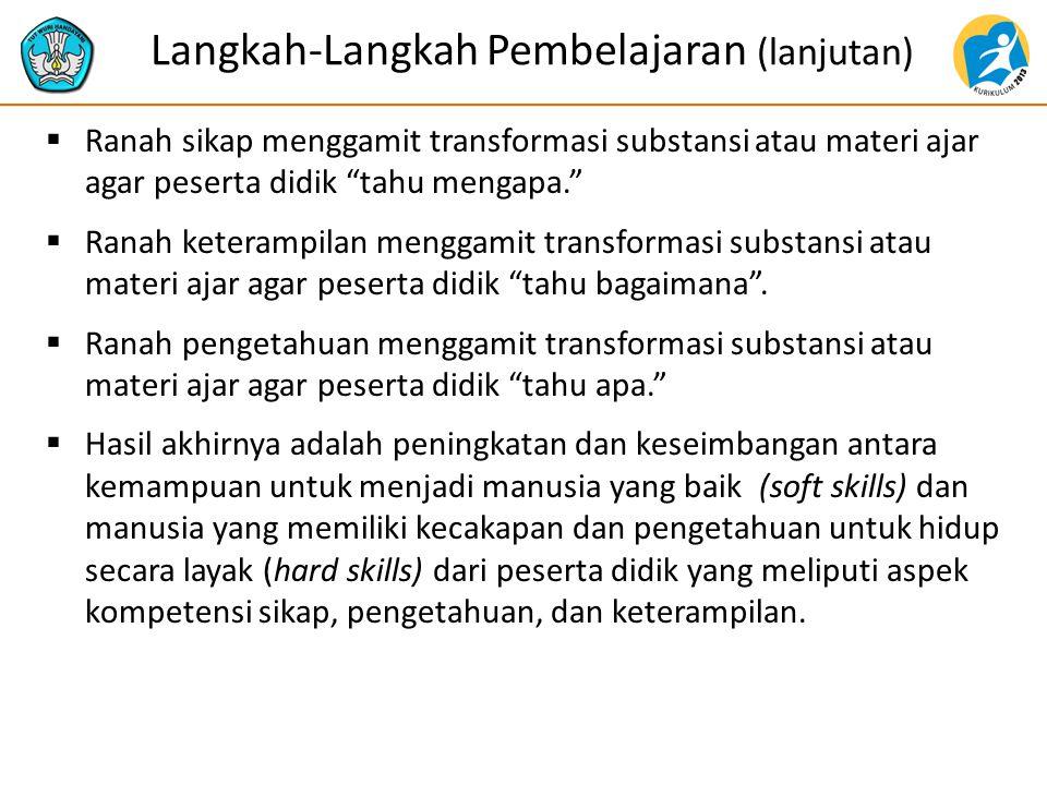 Langkah-Langkah Pembelajaran (lanjutan)