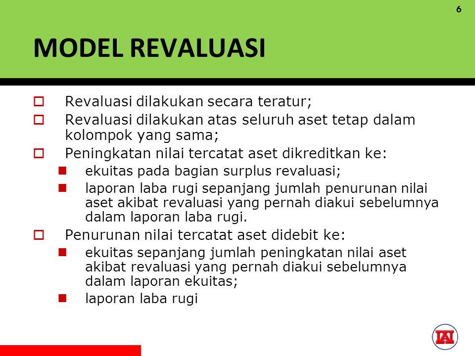 MODEL REVALUASI Revaluasi dilakukan secara teratur;