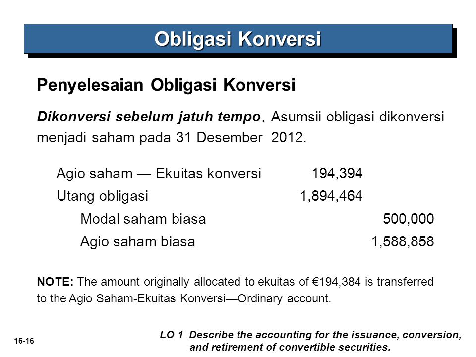 Obligasi Konversi Penyelesaian Obligasi Konversi