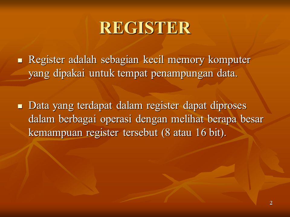 REGISTER Register adalah sebagian kecil memory komputer yang dipakai untuk tempat penampungan data.