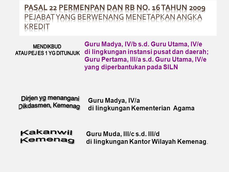 Guru Madya, IV/b s.d. Guru Utama, IV/e