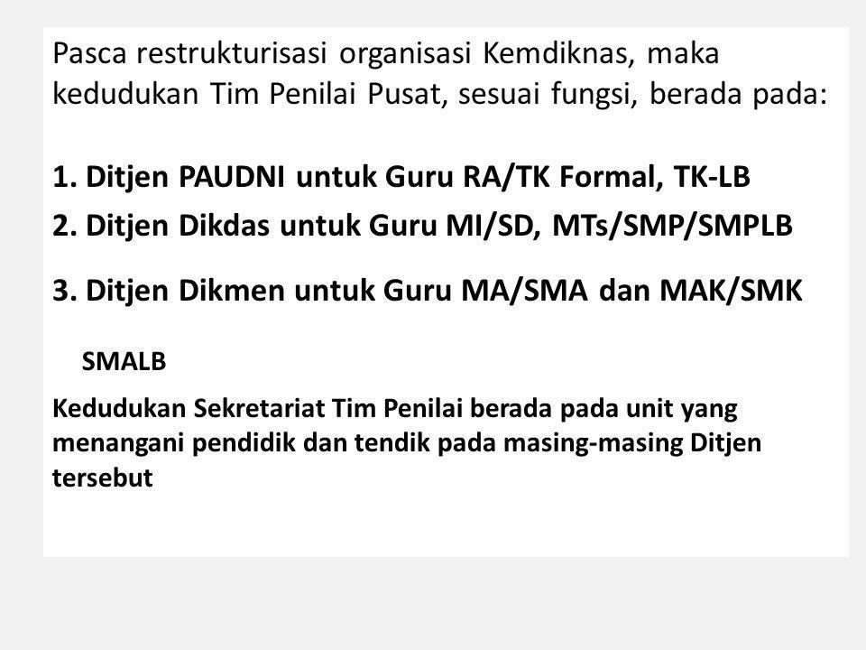 Pasca restrukturisasi organisasi Kemdiknas, maka kedudukan Tim Penilai Pusat, sesuai fungsi, berada pada: