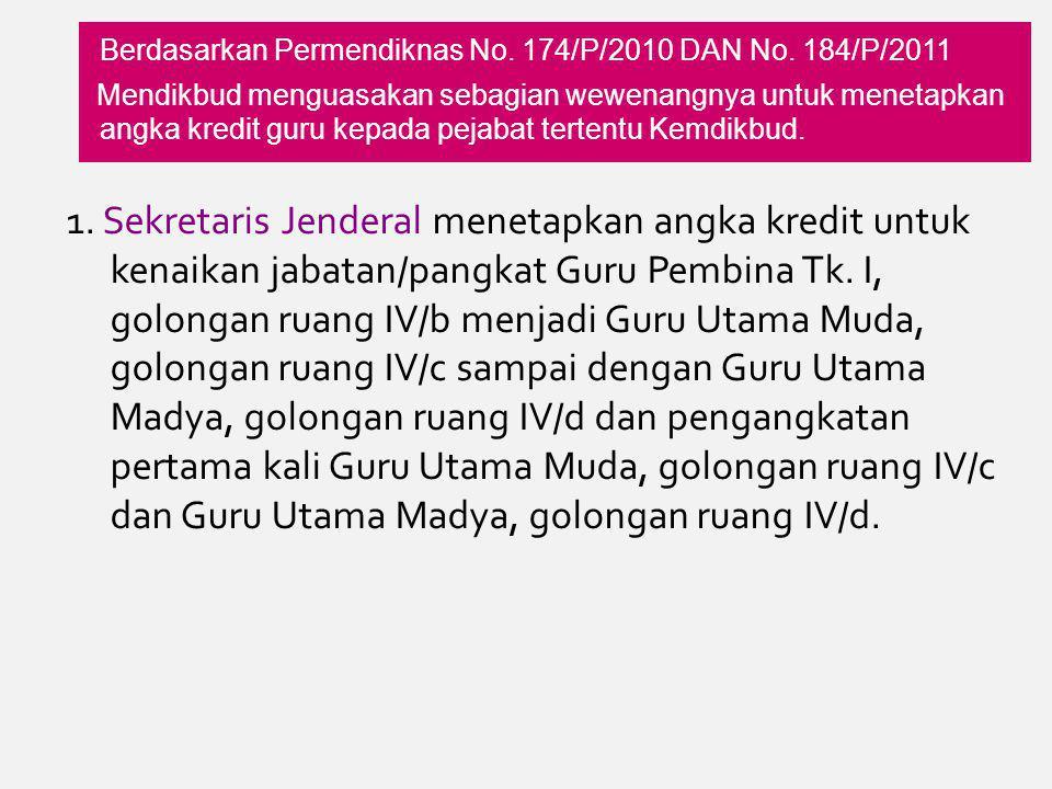 Berdasarkan Permendiknas No. 174/P/2010 DAN No. 184/P/2011