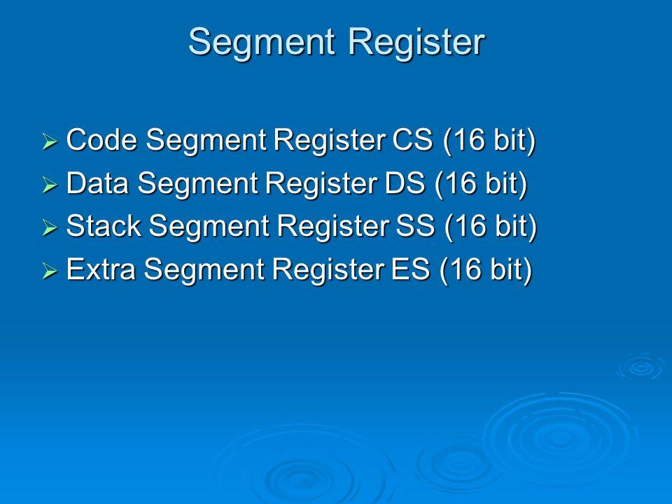 Segment Register Code Segment Register CS (16 bit)