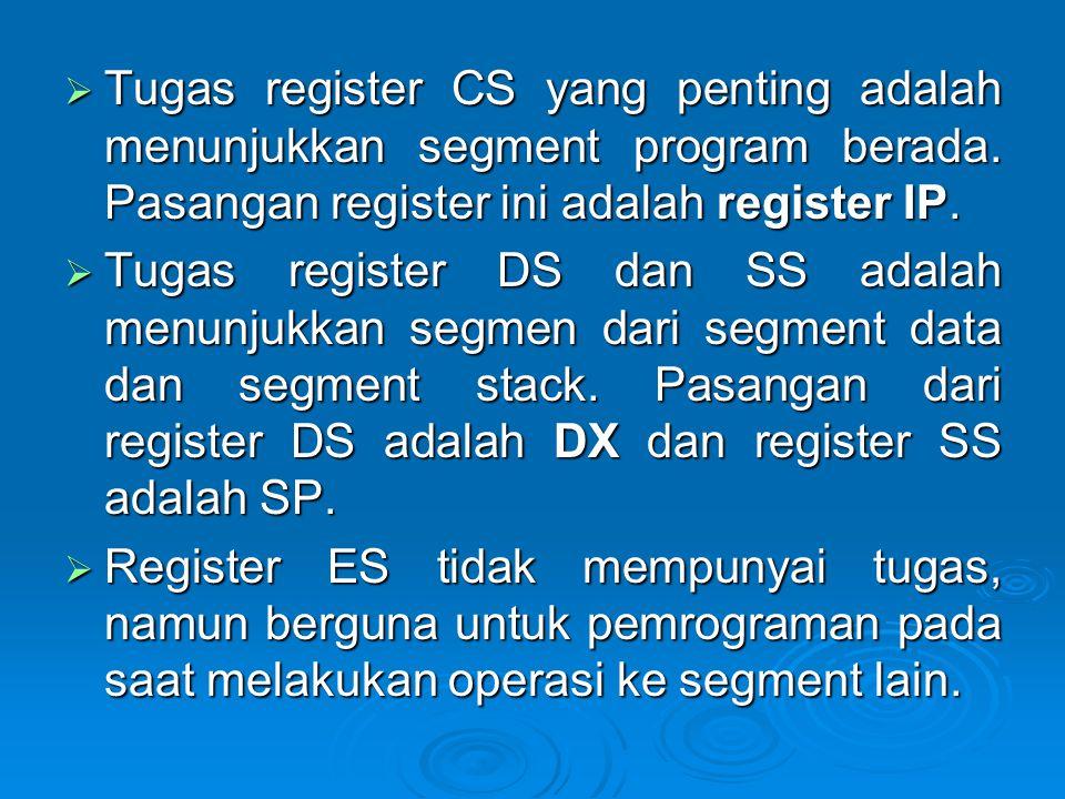 Tugas register CS yang penting adalah menunjukkan segment program berada. Pasangan register ini adalah register IP.