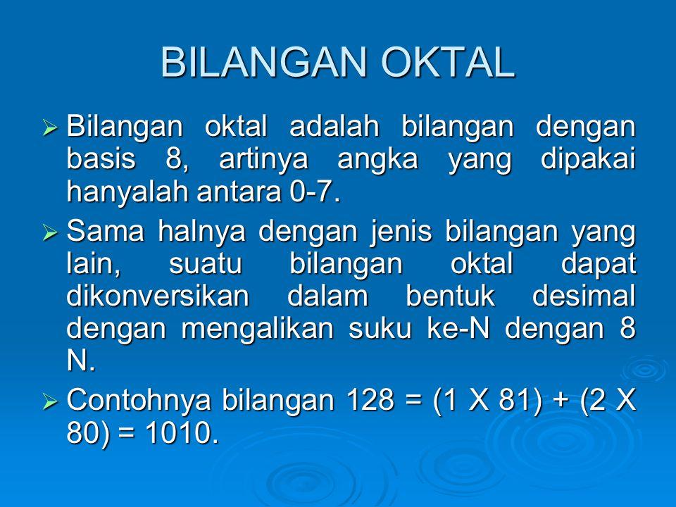 BILANGAN OKTAL Bilangan oktal adalah bilangan dengan basis 8, artinya angka yang dipakai hanyalah antara 0-7.