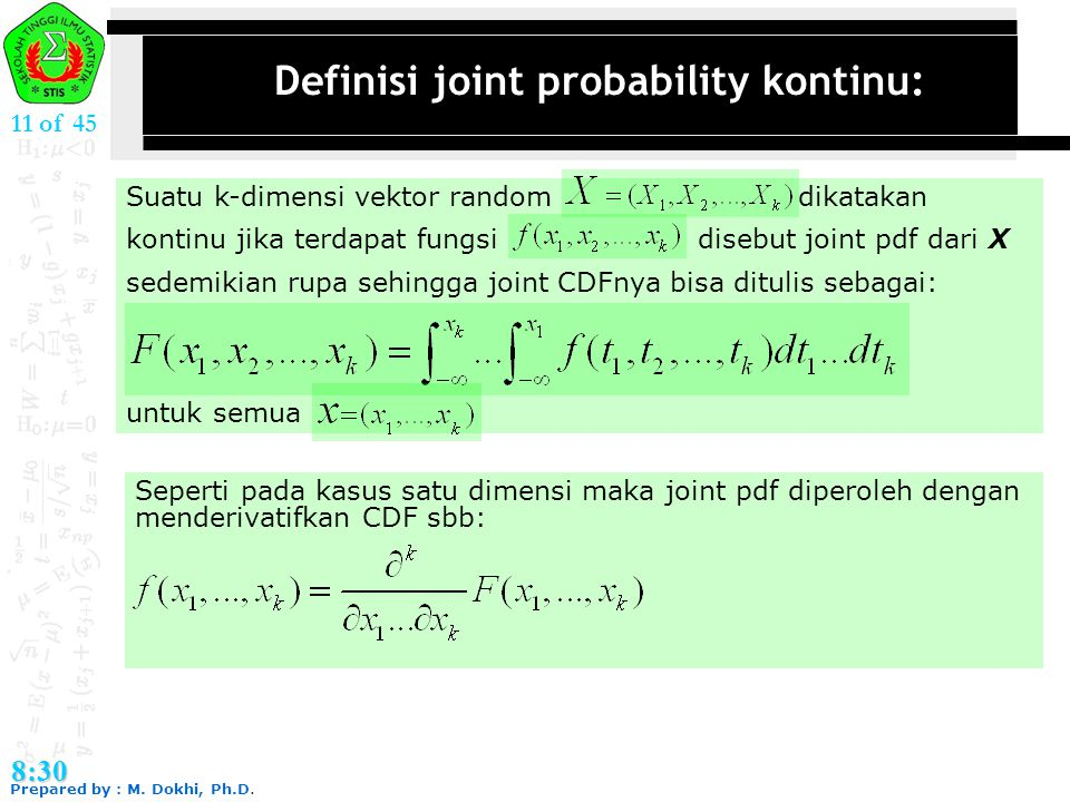 Definisi joint probability kontinu: