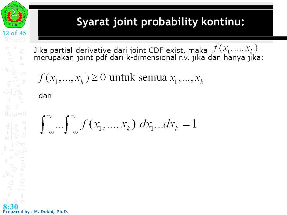 Syarat joint probability kontinu: