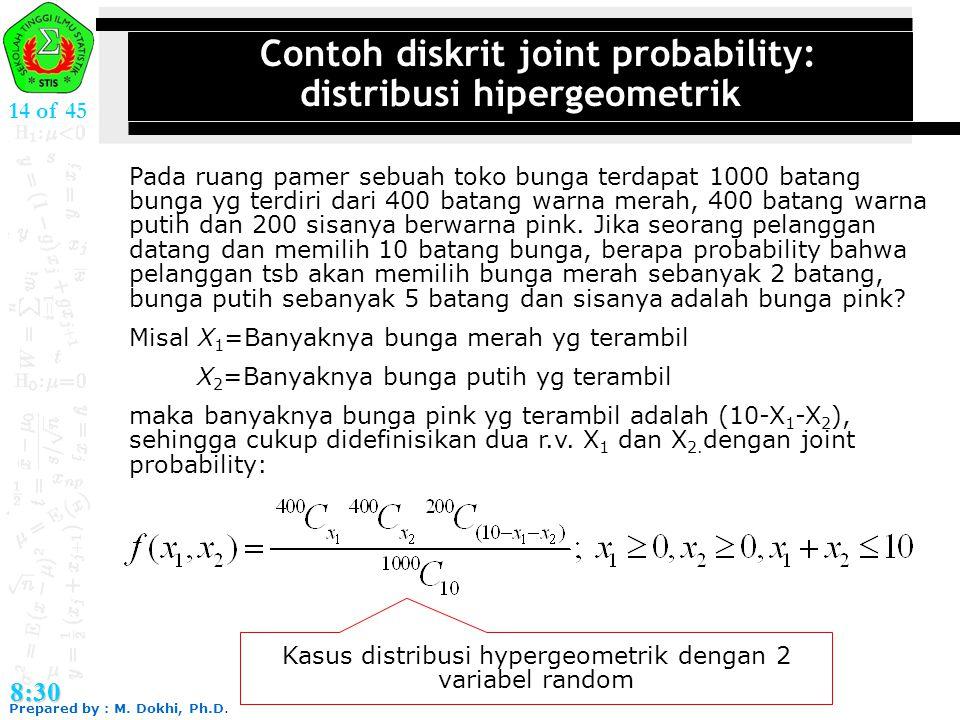 Contoh diskrit joint probability: distribusi hipergeometrik