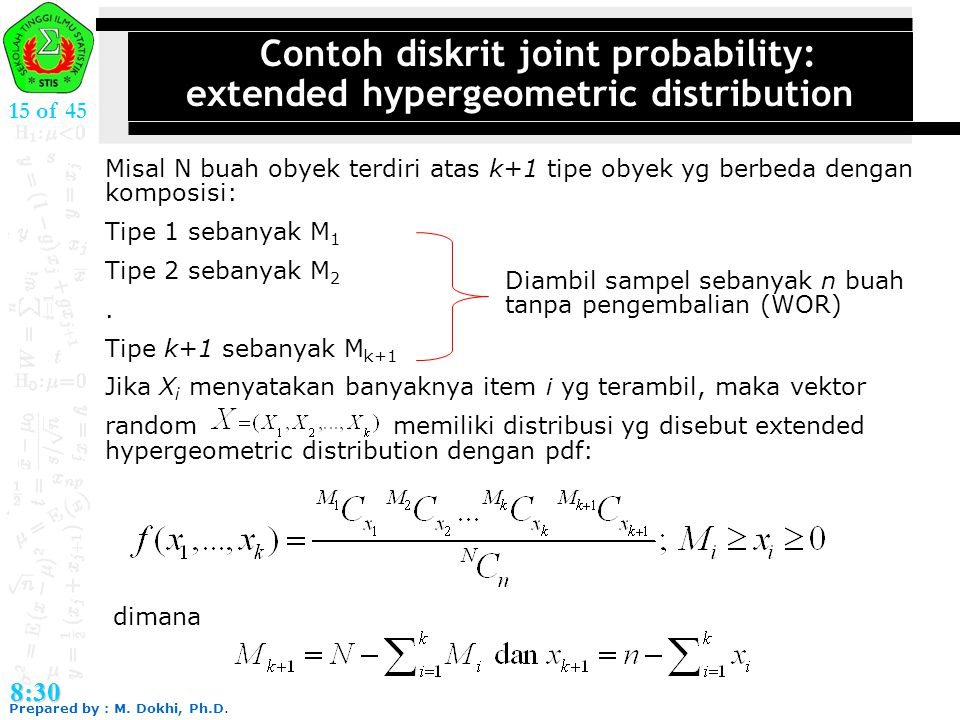 Contoh diskrit joint probability: extended hypergeometric distribution