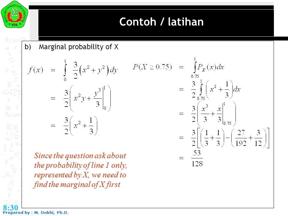 Contoh / latihan b) Marginal probability of X.