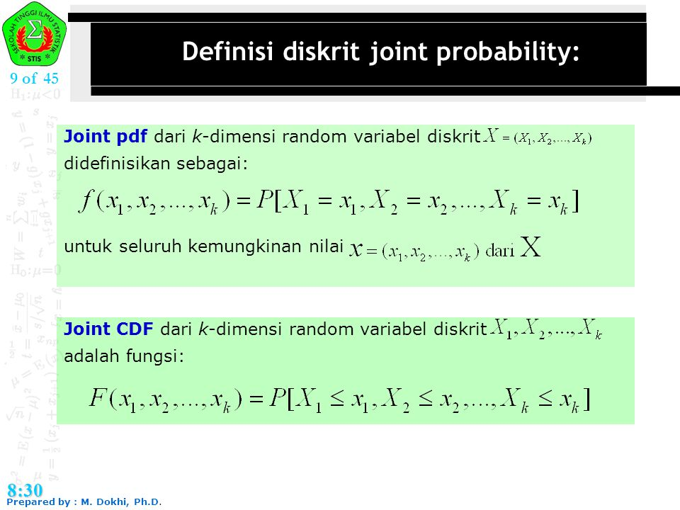Definisi diskrit joint probability: