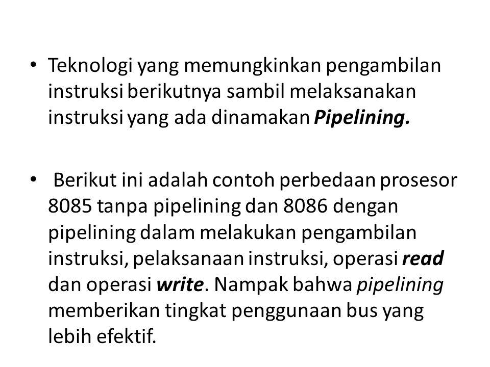 Teknologi yang memungkinkan pengambilan instruksi berikutnya sambil melaksanakan instruksi yang ada dinamakan Pipelining.