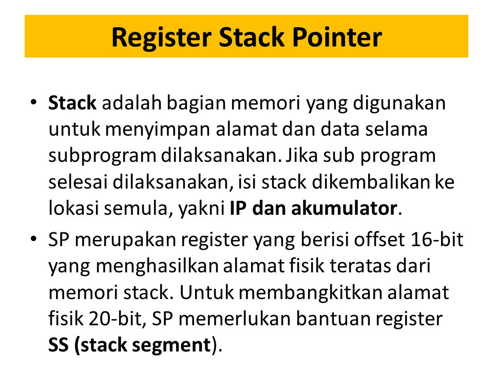 Register Stack Pointer