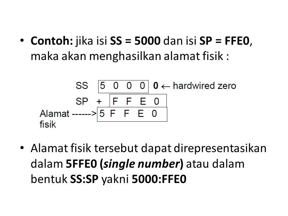 Contoh: jika isi SS = 5000 dan isi SP = FFE0, maka akan menghasilkan alamat fisik :
