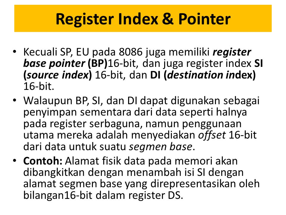 Register Index & Pointer