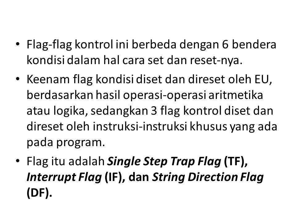Flag-flag kontrol ini berbeda dengan 6 bendera kondisi dalam hal cara set dan reset-nya.